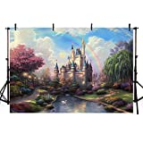 COMOPHOTO Fairy Tale Castle Theme Backdrops for Princess Birthday Party Backdrop Fantasy Garden Photo Background 7x5ft Polyester Photography Backdrops for Pictures