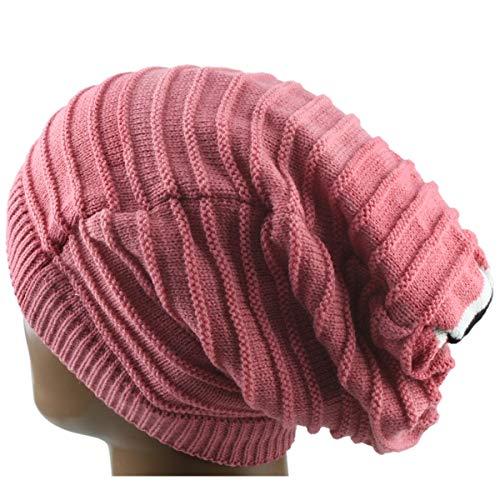Reversible Stripe Beanie - Samtree Unisex Slouchy Beanie Hat Stripe Knit Cap Loop Scarf Neckerchief Dreadlocks(Pink)