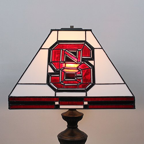 (Royal- 12-inch NCAA North Carolina State Wolfpack Stained Glass Square Table Lamp)