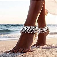 Bohemian Silver Anklet Tiny Bell Tassel Ankle Bracelet Women Barefoot Sandal