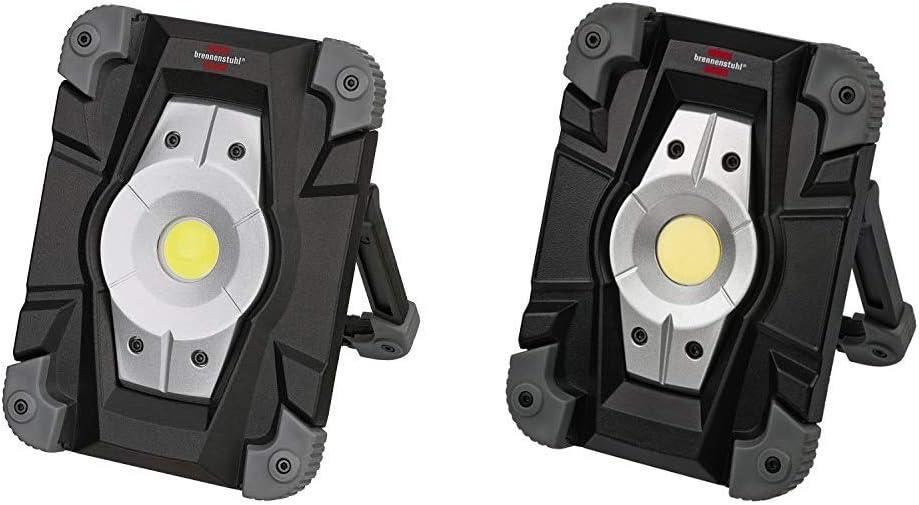 schwarz//grau 5er Set Brennenstuhl Akku LED Arbeitsstrahler//LED Strahler Akku Au/ßenleuchte 10 Watt, Baustrahler IP54, Fluter Tageslicht