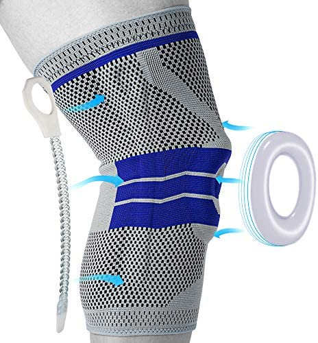 Knee Brace, Knee Compression Sleeve Support for Men and Women, Medical Grade Knee Patella Gel Pads for Running, Meniscus Tear, ACL, Arthritis, Joint Pain Relief, Injury Recovery (Gray,XL)