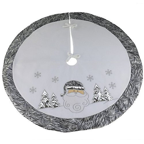 Wewill Luxury Thick Christmas Tree Skirt Decoration Santa Scene Tree Skirt Home Ornament with Silver Border(Style 4) Image