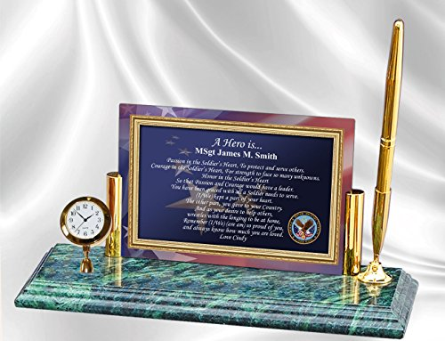 Personalized Military Gift Poetry Mini Clock Pen Set on Genuine Marble Base Retirement Gift Promotion Recognition Veteran USMC USN Navy Army Air Force USAF Marine Corps Coast Guard USCG Retiree