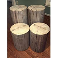 Rustic Weathered Gray Poplar Stump Table ~ Bedside Table Sofa Table Bar Stool Stump Stool - 9-10 diameter Custom Heights Available - 8-17 Tall