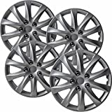 OxGord Hubcaps for Toyota Camry (Pack of 4) Wheel Covers - Snap On 16 Inch, Silver