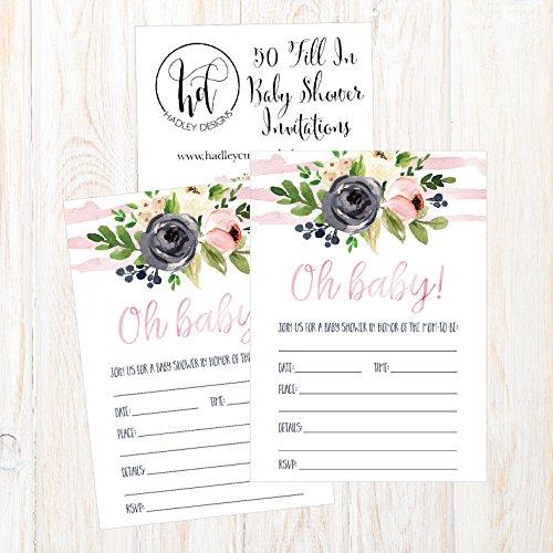 50 Fill in Floral Baby Shower Invitations, Baby Shower Invitations Watercolor, Pink, Neutral, Flower, Blank Baby Shower Invites for girl, Baby Invitation Cards Printable Photo #2