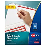 Avery Print & Apply Clear Label Dividers, Index Maker Easy Apply Printable Label Strip, 8 White Tabs, 50 Sets, Case Pack of 2 (11557)