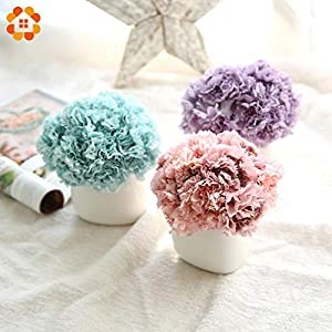 Sala-Tecco - 6Heads/Bouquet Artificial Flowers European Carnation Silk Flowers Home Decoration DIY Party Supplies Wedding Flowers 10