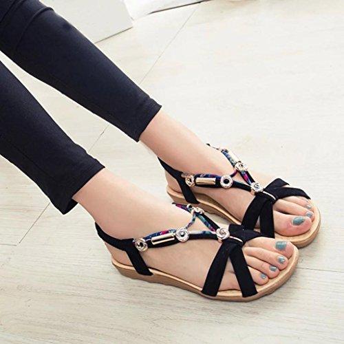 Longra Damen Sommer Sandalen Schuhe Peep-Toe Halbschuhe römischen Sandalen Damen Flip Flops (EU 36, Black)