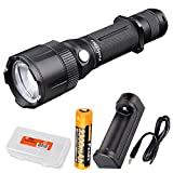 x1 org - Fenix FD41 900 Lumen Zoomable Spotlight Rechargeable Tactical LED Flashlight w/ Fenix ARE-X1 1-channel USB charger, 2300mAh Fenix 18650 battery and LumenTac Organizer