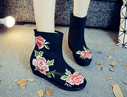 Avacostume Womens Blommor Broderi Förtjockning Anti Slip Korta Stövlar