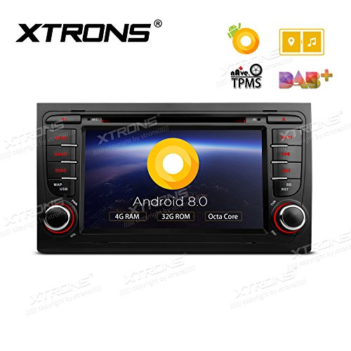 XTRONS 7 Inch Android 8.0 Octa Core 4G RAM 32G ROM HD Digital Multi-touch Screen OBD2 DVR Car Stereo DVD Player Tire Pressure Monitoring TPMS Wifi OBD2 for AUDI A4 B6 S4 B7 RS4 SEAT 2002~2008
