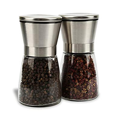 LauKingdom Salt and Pepper Grinder Set, Slim Brushed Stainless Steel Pepper Mill and Salt Mill -Adjustable Ceramic Rotor and Glass Body (Set of 2)