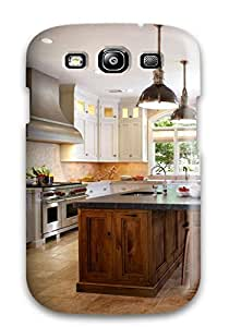 Excellent Design White Kitchen With Butternut Wood Island Phone Case For Galaxy S3 Premium Tpu Case