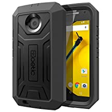 Moto E 2nd Gen Case - Poetic [Revolution Series] - [Heavy Duty] [Dual Layer] Complete Protection Hybrid Case with Built-In Screen Protector for Motorola Moto E 2nd Gen (2nd Generation 2015) Black (3-Year Manufacturer Warranty From Poetic)