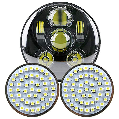 Bullet Headlamp - DOT 5 3/4 5.75 inch LED Headlight + 2x 50 mm turn signal Lights Kit Set Motorcycle Headlamp for Motor bike parts (Black)