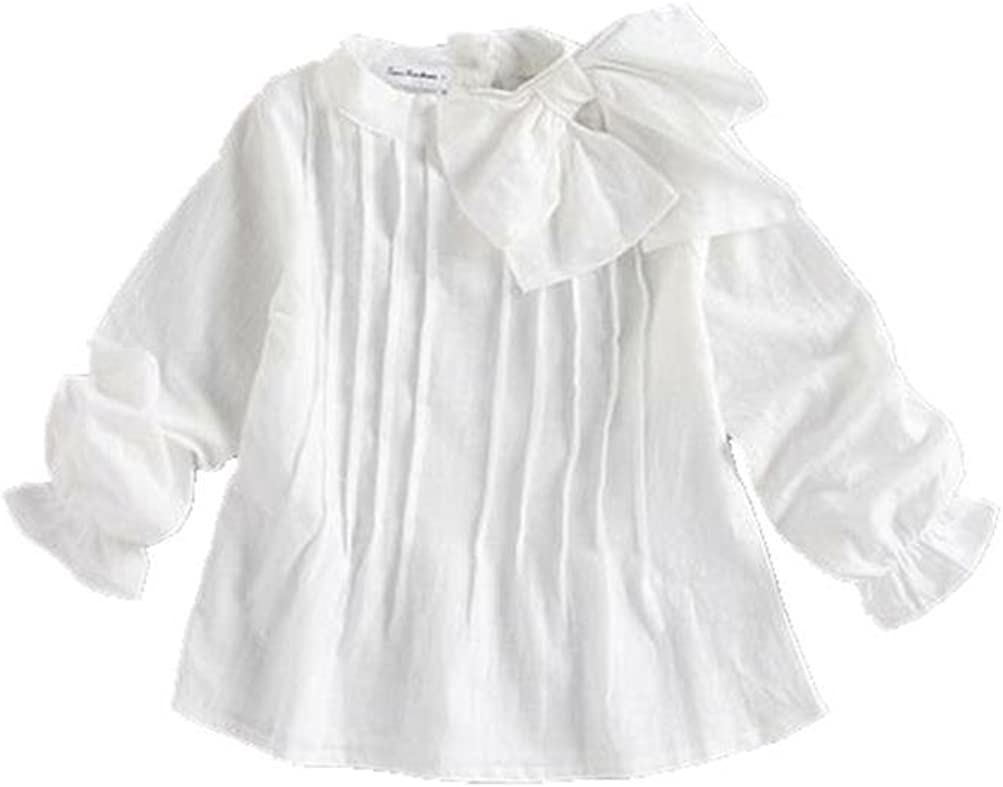 Amazon.com: Girls Bow Knot Stand Collar Ruffle Long Sleeve Blouses Shirt  Tops A805: Clothing