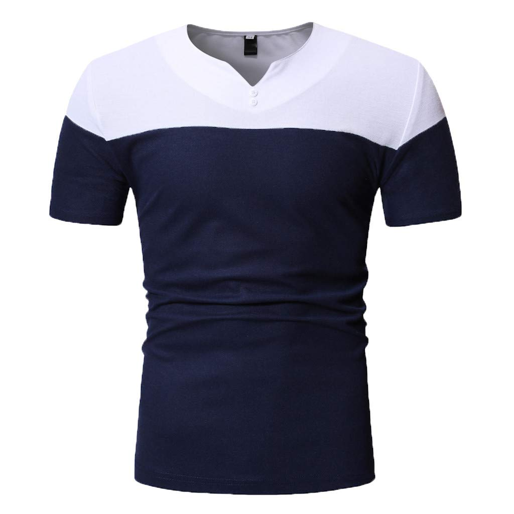KASAAS Henley Shirts for Men Contrast Button V-Neck Polo Tops Short Sleeve Fashion Summer Casual Basic Slim T-Shirts