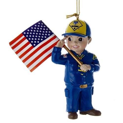 "Kurt Adler 3 75"" Cub Scout W/flag Ornament"
