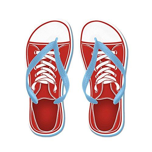 Cafepress Röd Sneaker - Flip Flops, Roliga Rem Sandaler, Strand Sandaler Caribbean Blue