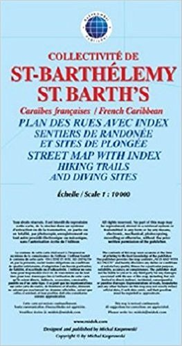 Saint-Barthélemy (St. Barth's) Street Map with Index, Hiking Trails and Diving Sites