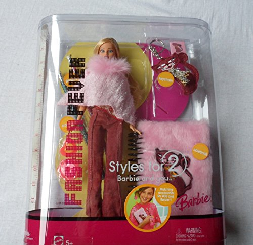 Barbie Fashion Fever Doll With Pink Fluffy Notebook & Gli...