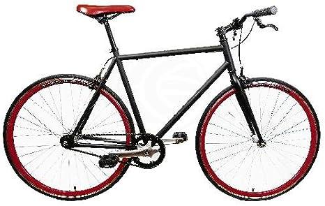 Bicicleta fixie negra talla L para altura 175-190cm: Amazon.es ...