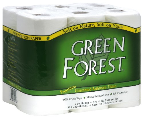- Green Forest Premium 100% Recycled Bathroom Tissue, 352 Sheets, 12 Rolls (Pack of 4)