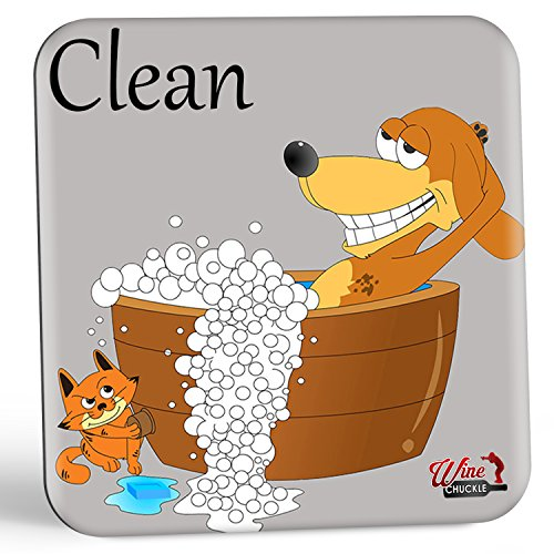 Dish Doggy Clean Dirty Dishwasher Magnet Sign - A Fun & Stylish Clean Dirty Dishwasher Sign Gift with 2 Different Fun Sides for Dog Lovers to Eliminate Those Dish Mix-ups Forever