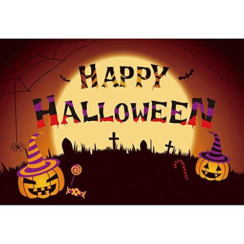 YongFoto 7x5ft Happy Halloween Cartoon Background Halloween Horror Night Photography Backdrop Bat Cross Tomb Pumpkin Lamp Candies Terror Moonlight Holiday Party Decor Banner Kids Photo Studio Props -