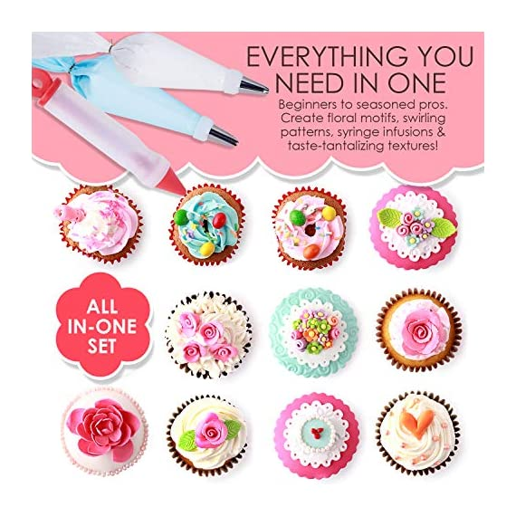 210 piece cake decorating supplies kit | aluminium rotating turntable stand, frosting & piping tips, icing spatula, scraper, smoother, flower nails, cutter, disposable pastry bags, pro baking tools 6 ✅ professional dessert decorating at home - create delectably artistic masterpieces that are stunning to behold and even better to eat! Practice & perfect your special baked creations right from home! ✅heavy duty aluminium alloy cake turnable provides an excellent stability on countertops. ✅ liven up birthdays, parties & holidays - be the go-to expert for making any party a hit! Get creative with cakes, cookies, cupcakes, chocolate and everyone's favorite desserts & party platters. ✅ 51 numbered tips – easy to use ✅ everything you need in one - beginners to seasoned pros: this all-in-one set has everything you need and more. Create floral motifs, swirling patterns, syringe infusions & taste-tantalizing textures!