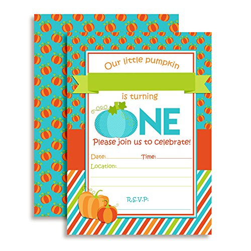 Pumpkin Boy 1st Birthday Party Invitations, Ten 5