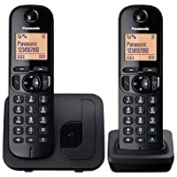 Panasonic KX-TGC212EB Digital Cordless Phone with LCD Display (Two Handset Pack) - Black