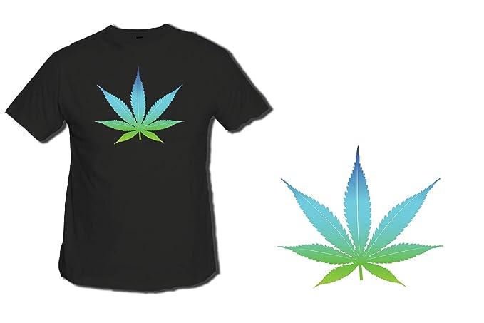 MERCHANDMANIA Camiseta Negra Logo Hoja DE Marihuana Tshirt: Amazon.es: Ropa y accesorios