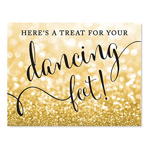 (Andaz Press Wedding Party Signs, Glitzy Gold Glitter, 8.5x11-inch, Here's a Treat for Your Dancing Feet! Flip Flop Sandals High Heels Shoes Dance Floor Reception Sign, 1-Pack)
