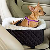 Meago Pet Dog Cat Console Car Seat Carrier with Safety Belt Booster for Small Pets,Black.