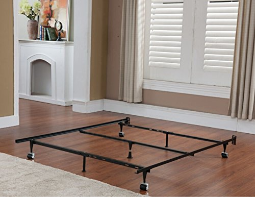 Kings Brand 7-Leg Super Duty Adjustable Metal Bed Frame (Queen/Full/Full XL/Twin/Twin XL) with Center Support Bar and Rug Rollers&Locking Wheels (Queen Bed Metal Rails)