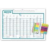 weekview Schuljahresplaner 2017/18 | abwischbar, DIN A1, innovative Wochen-Anordnung! inkl. Powerstrips, Lumocolor, Stifthalter, Labels und Sticker