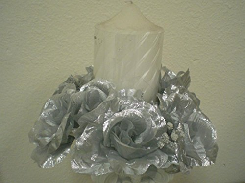 - 3 Candle Rings Roses Center Pieces Artificial Silk Flowers 4005 SILVER