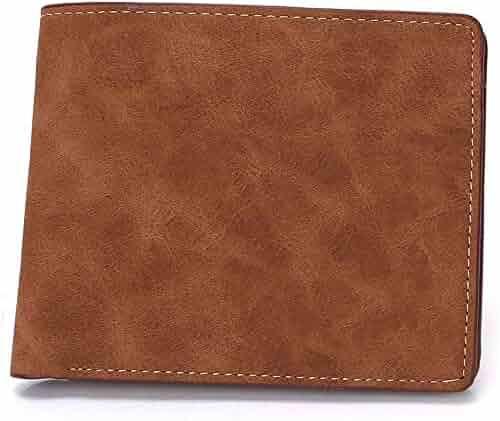Color : Dark Brown KRPENRIO Mens Genuine Leather RFID Blocking Bifold ID Wallet Slim Credit Card Holder Minimalist