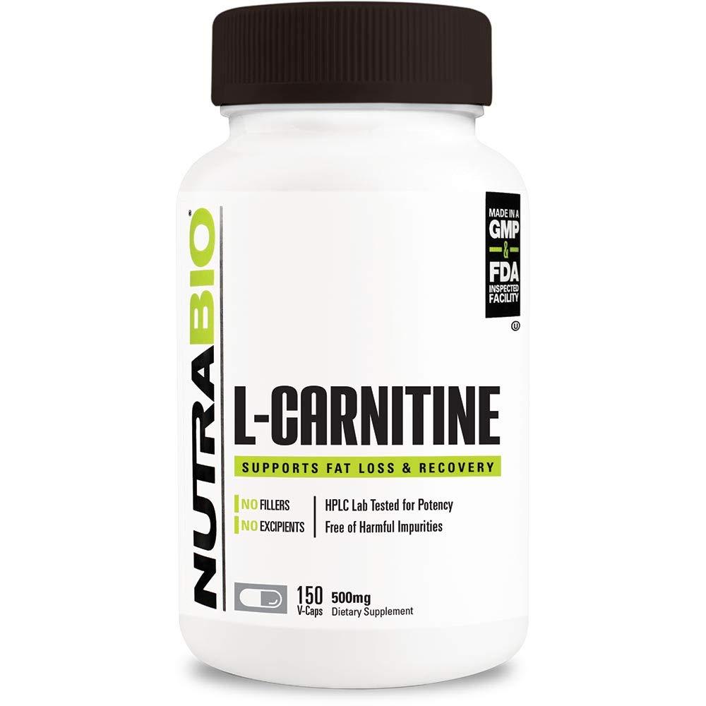 NutraBio L-Carnitine (500 mg) - 150 Vegetable Capsules