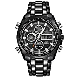 Winsummer Classic Men's Business Casual Chronograph Quartz Waterproof Wristwatch Black Stainless Steel Strap Watches (#3)