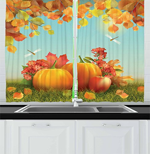 Harvest Kitchen Curtains by Ambesonne, Fall Season Yield Thanksgiving Image Fallen Leaves Branches Pumpkins, Window Drapes 2 Panel Set for Kitchen Cafe, 55 W X 39 L Inches, Orange Vermilion Green