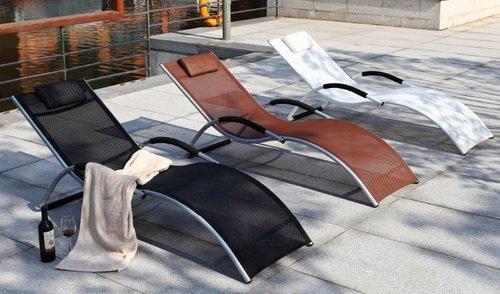 20 opinioni per Lettino Da Esterno In Alluminio Textilene Sdraio Prendisole Per Giardino