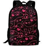 ZQBAAD Red Heart Love Luxury Print Men And Women's Travel Knapsack