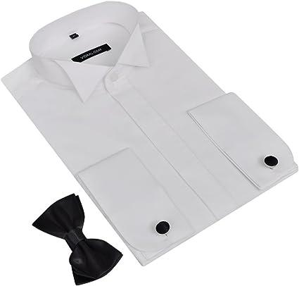 FESTNIGHT Camisa para Hombre con Gemelos y Pajarita M: Amazon ...