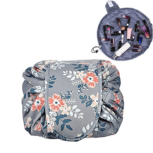 Lemoncy Lazy Portable Makeup Bag Waterproof Drawstring Cosmetic Bag Makeup Storage Organizer Large Capacity Travel Makeup Pouch Perfect Gift for Women & Girls (Grey Flower)