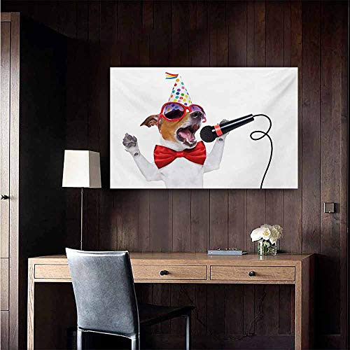duommhome Popstar Party Modern Oil Paintings Jack Russel Dog with Sunglasses Party Hat and Bowtie Singing Birthday Song Canvas Wall Art 24