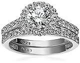 #9: Platinum-Plated Sterling Silver and Swarovski Zirconia Flower Halo Ring Set